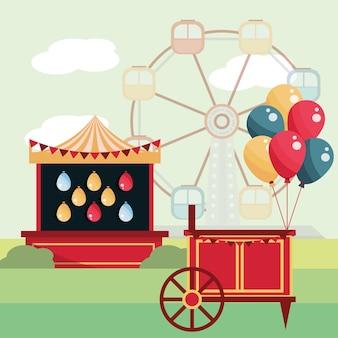 Wesołe miasteczko karnawałowe balony strzeleckie i ilustracja diabelskiego młyna