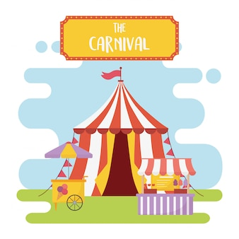 Wesołe miasteczko karnawałowe namiot stoisko jedzenie przekąski rekreacja rozrywka