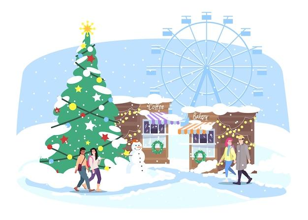 Wesołe miasteczko. ludzie chodzą na targ uliczny xmas. zimowe wesołe miasteczko ze straganami, diabelskim młynem i choinką jodłą. kartkę z życzeniami nowego roku