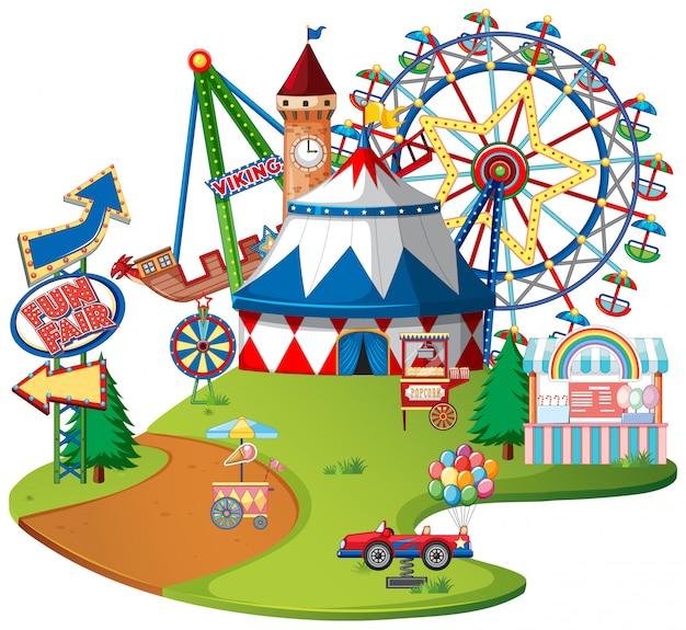 Wesołe miasteczko parku rozrywki na na białym tle
