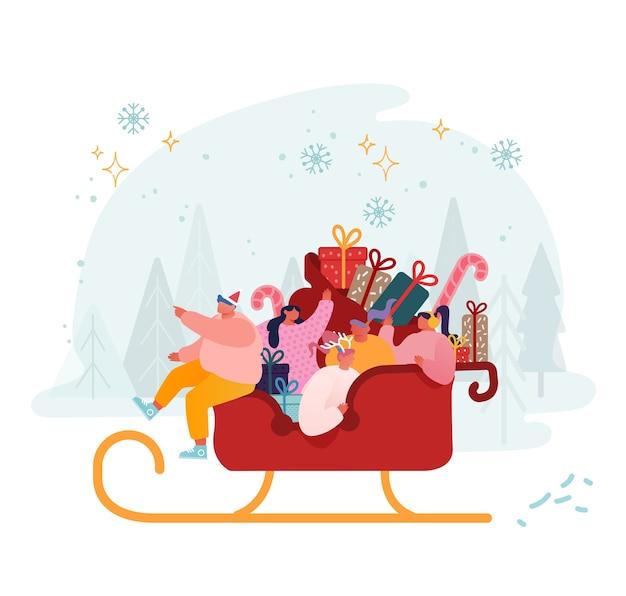 Wesołe postacie męskie i żeńskie jadą na sankach świętego mikołaja pełnych prezentów i prezentów. koncepcja obchodów bożego narodzenia i ferii zimowych. świąteczne pozdrowienia pomocników świętego mikołaja. kreskówka mieszkanie
