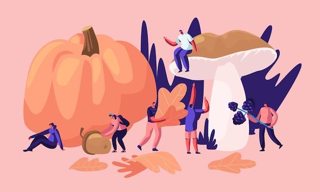 Wesołe postacie męskie i żeńskie spędzają czas na świeżym powietrzu w sezonie jesiennym