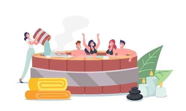 Wesołe postacie odpoczywają w tradycyjnej japońskiej łaźni onsen, naturalnym spa, gorących źródłach. przyjaciele młodej firmy cieszą się naturą basen z wodą termalną, terapia pielęgnacyjna. ilustracja wektorowa kreskówka ludzie
