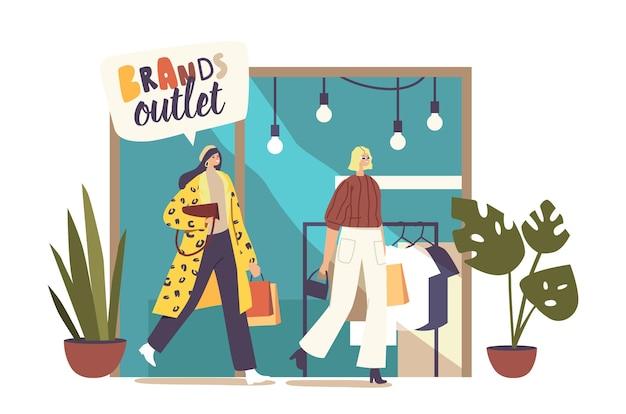 Wesołe zakupoholiczki kupują ubrania w fashion brand outlet szczęśliwe kobiety z pakietami zakupowymi