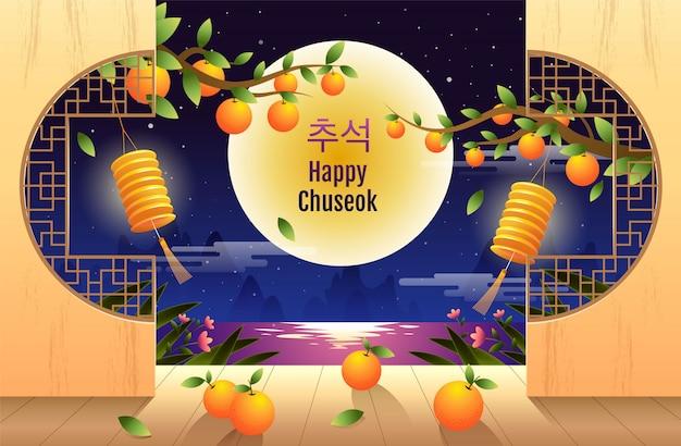 Wesołego chuseok, mid autumn festival. króliki, festiwal księżyca, ilustracji wektorowych.