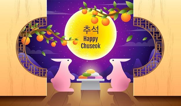 Wesołego chuseok, mid autumn festival. króliki, święto księżyca, święto dziękczynienia w korei, ilustracji wektorowych.