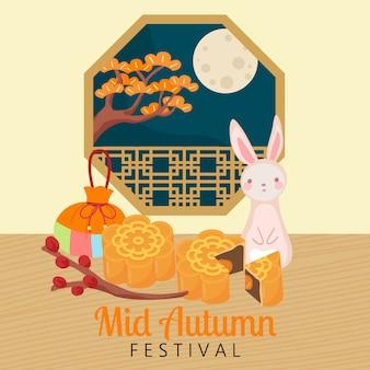 Wesołego festiwalu połowy jesieni. dożynki obchodzone przede wszystkim przez chińczyków i wietnamczyków. dekoracja ciasta księżycowego. projekt płaski wektor