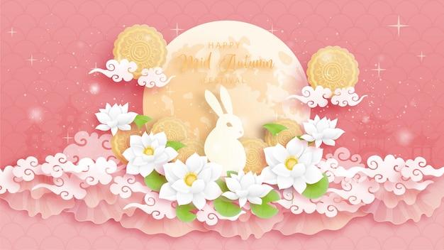 Wesołego festiwalu połowy jesieni z królikiem i kolorowymi kwiatami