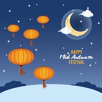 Wesołego festiwalu połowy jesieni z wiszącymi księżycami i latarniami