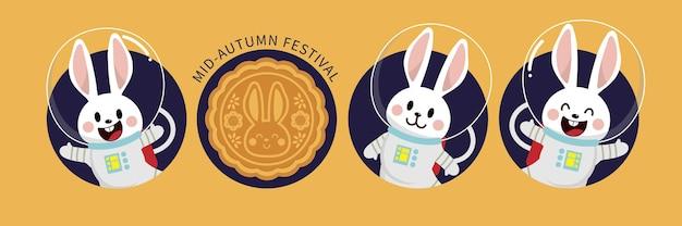Wesołego festiwalu w połowie jesieni z uroczym królikiem