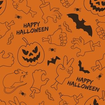 Wesołego halloween bezszwowy wzór z latarnią jack ręce i gesty zwierząt na pomarańczowym tle