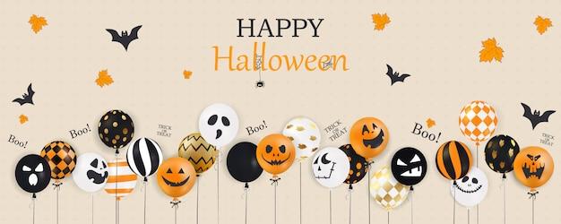 Wesołego halloween. cukierek albo psikus. gwizd. straszne balony powietrzne. koncepcja wakacje z konfetti halloween brokat balony duchów śmieszne twarze na stronie internetowej