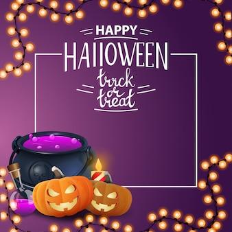Wesołego halloween, cukierek albo psikus, kwadratowe kartkę z życzeniami z puli czarownicy i jacka dyni