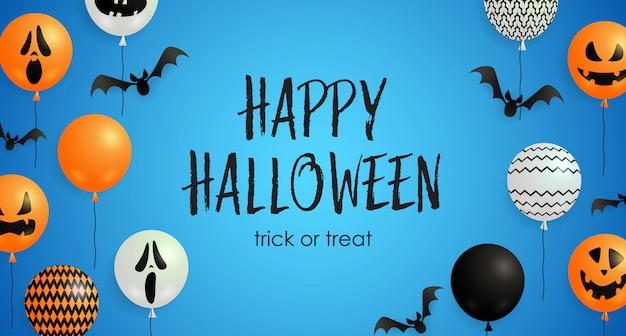 Wesołego halloween, cukierek albo psikus napis, balony z dyni