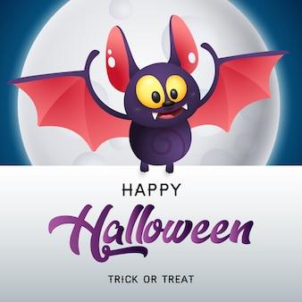 Wesołego halloween, cukierek albo psikus napis z nietoperzem i księżycem