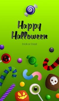 Wesołego halloween, cukierek albo psikus napis ze słodyczami