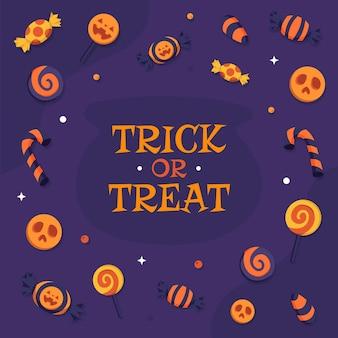 Wesołego halloween cukierek lub psikus ze słodkim i cukierkowym tłem