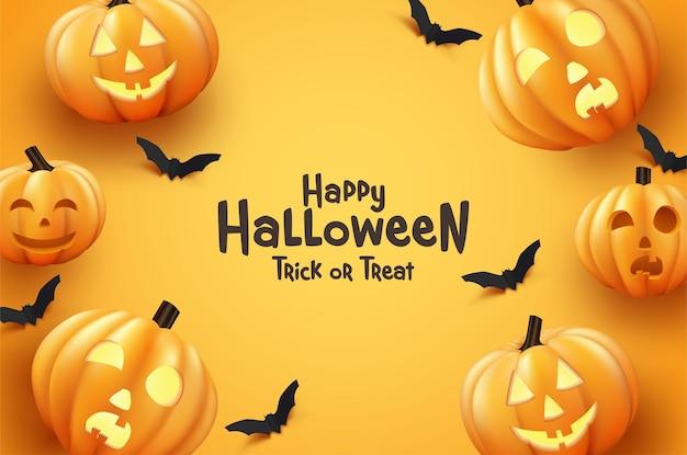 Wesołego halloween dynia i nietoperz