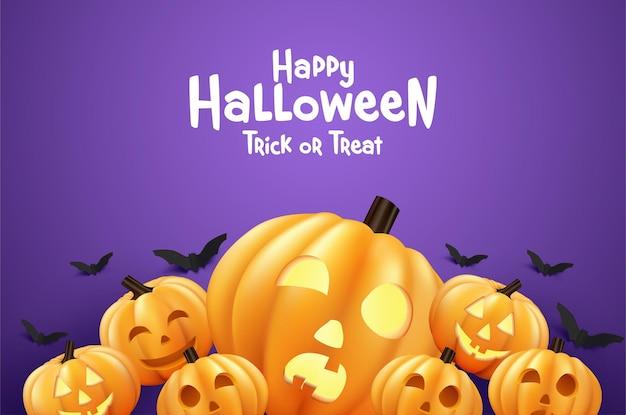 Wesołego halloween dynia z latającymi nietoperzami