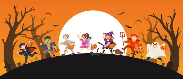 Wesołego halloween. dzieci ubrane w przebranie na halloween trick or treating. szablon do broszury reklamowej.
