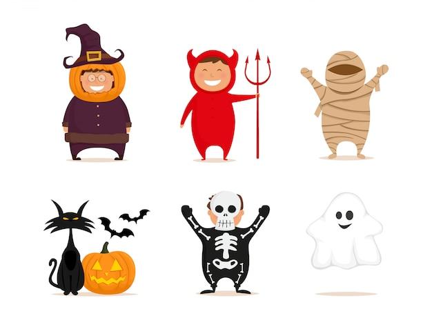 Wesołego halloween. dzieci w kostiumach na białym tle. dynia, diabeł, mumia, szkielet, duch, czarny kot