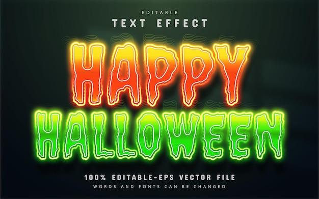 Wesołego halloween efekt tekstowy w stylu neonowym