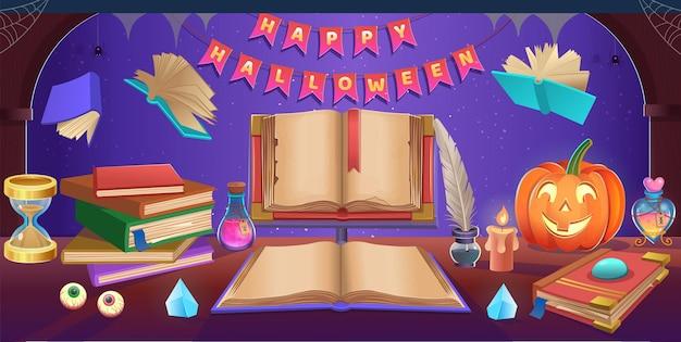 Wesołego halloween. halloweenowy stół z kociołkiem, dyniami, cukierkami, kapeluszem, magiczną kulą, otwartą książką, klepsydrą, stalówką, stosem książek. tło dla gier i aplikacji mobilnych.