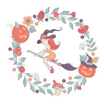 Wesołego halloween. ilustracja wektorowa. zaproszenie na imprezę. czarownica w kapeluszu latająca na miotle. wieniec przerażających dyń, jesiennych ziół, grzybów, jagód i liści.