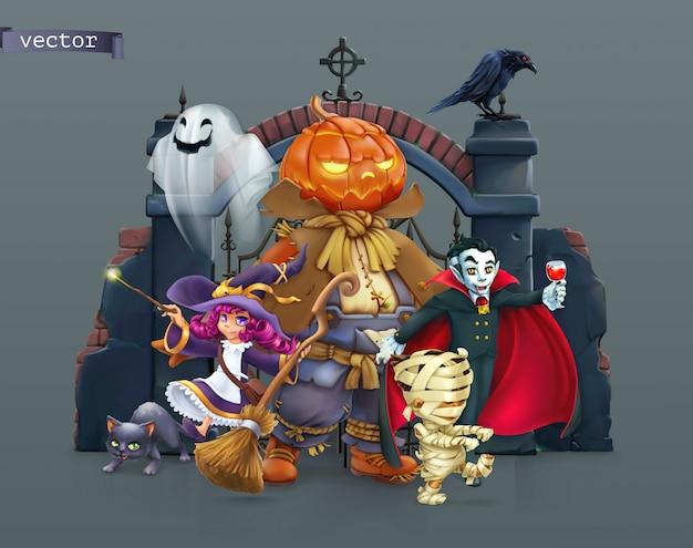 Wesołego Halloween, Ilustracji Wektorowych Premium Wektorów