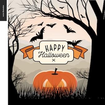 Wesołego halloween ilustrowany plakat