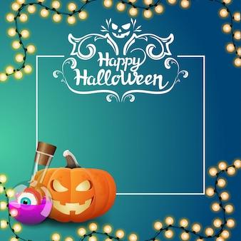 Wesołego halloween, kwadratowa niebieska kartka okolicznościowa z dyniowym jackiem i mikstura czarownicy