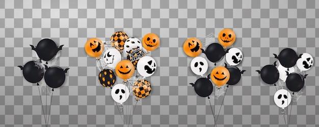 Wesołego halloween. latający zestaw błyszczących, wakacyjnych balonów.