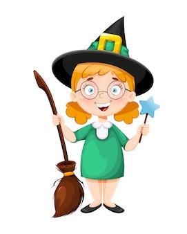 Wesołego halloween. mała uśmiechnięta czarownica