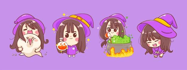 Wesołego halloween małej czarownicy kreskówka na białym tle