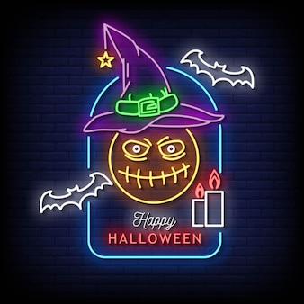 Wesołego halloween neonowe znaki styl tekst wektor