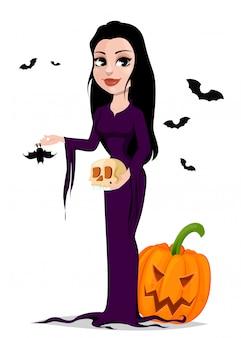 Wesołego halloween. piękna czarownica