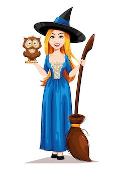Wesołego halloween. postać z kreskówki piękna czarownica