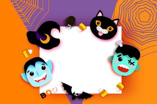 Wesołego halloween. potwory. dracula i czarny kot, frankenstein. śmieszny upiorny wampir. cukierek albo psikus. nietoperz, kapelusz czarownicy, pająk, sieć, cukierki, kości. miejsce na tekst pomarańczowy