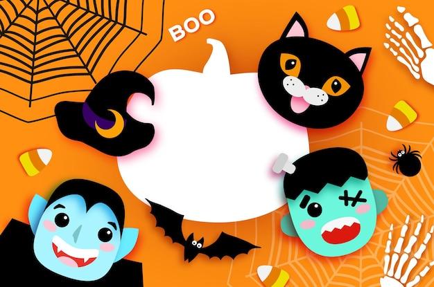 Wesołego halloween. potwory. dracula i czarny kot, frankenstein. śmieszny upiorny wampir. cukierek albo psikus. nietoperz, pająk, sieć, cukierki, kości. dynia miejsce na tekst pomarańczowy wektor