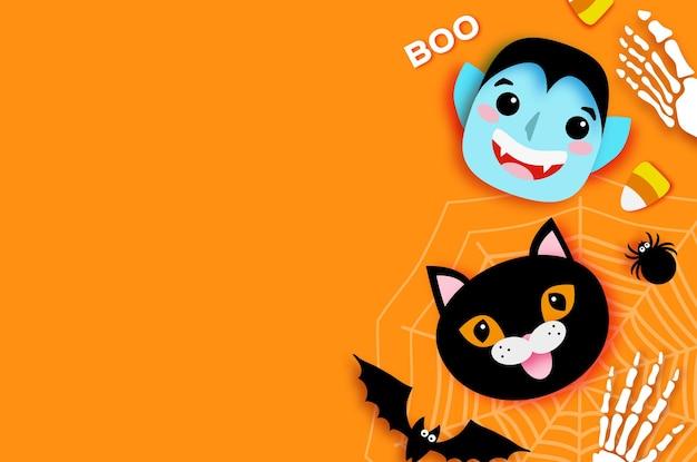 Wesołego halloween. potwory. dracula i czarny kot. śmieszny upiorny wampir. cukierek albo psikus. nietoperz, pająk, sieć, cukierki, kości. miejsce na tekst pomarańczowy wektor