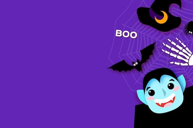 Wesołego halloween. potwory. dracula - zabawny upiorny wampir. cukierek albo psikus. nietoperz, pająk, sieć, kości. miejsce na tekst fioletowy wektor