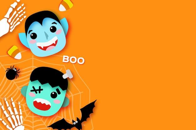Wesołego halloween. potwory. drakula i frankenstein. śmieszny upiorny wampir. cukierek albo psikus. nietoperz, pająk, sieć, kości. miejsce na tekst pomarańczowy wektor