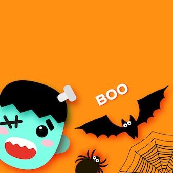 Wesołego halloween. potwory. frankensteina. cukierek albo psikus. nietoperz, pająk, sieć miejsce na tekst boo orange vector