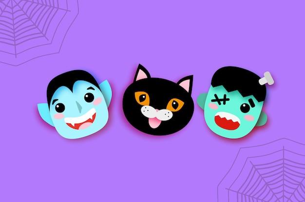 Wesołego halloween. potwory. uśmiechnij się drakuli, czarnym kotku, frankensteinie. śmieszny upiorny wampir. cukierek albo psikus. miejsce na tekst fioletowy