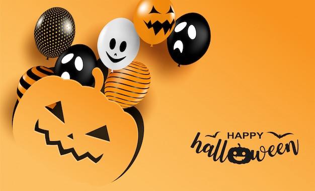 Wesołego halloween. projekt z balonów na pomarańczowo