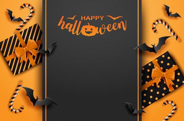 Wesołego halloween. projekt z pudełkiem i nietoperzami w kolorze pomarańczowym