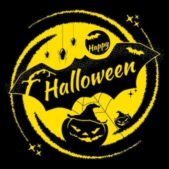 Wesołego halloween. przerażająca ilustracja z latarnią jacka, pająkami i nietoperzami.