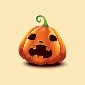 Wesołego halloween. realistyczne wektor dynia halloween. przestraszona twarz dynia halloween na białym tle na jasnym tle. eps 10