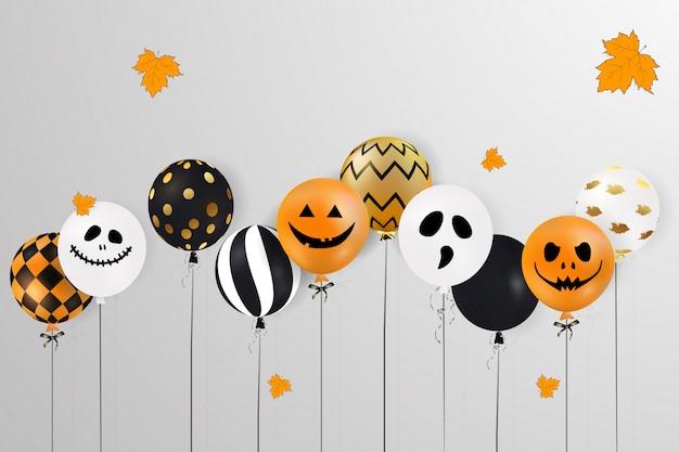 Wesołego halloween. straszne balony powietrzne. koncepcja wakacje z balonami duchów halloween brokat konfetti z zabawnymi twarzami, jesienne liście na stronie internetowej