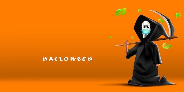 Wesołego halloween straszny krzyk ponurego żniwiarza noszącego maskę chroniącą przed koronawirusem lub covid-19